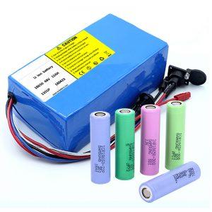 बीएमएस के साथ लिथियम बैटरी 18650 48V 12AH 48V 500W इलेक्ट्रिक बाइक बैटरी