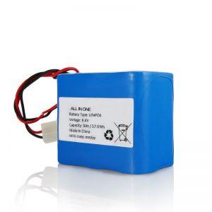 सौर प्रकाश के लिए कनेक्टर के साथ 6.4V 12Ah LiFePO4 रिचार्ज लिथियम 26650 32650 बैटरी पैक